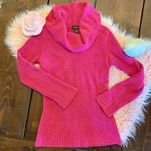 Fuchsia Cowl Neck Sweater Long Sleeve Pink